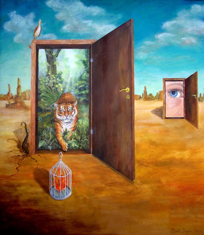 Jeg leter etter min sjel. Maleri av Elisabeth Berggren Hansen