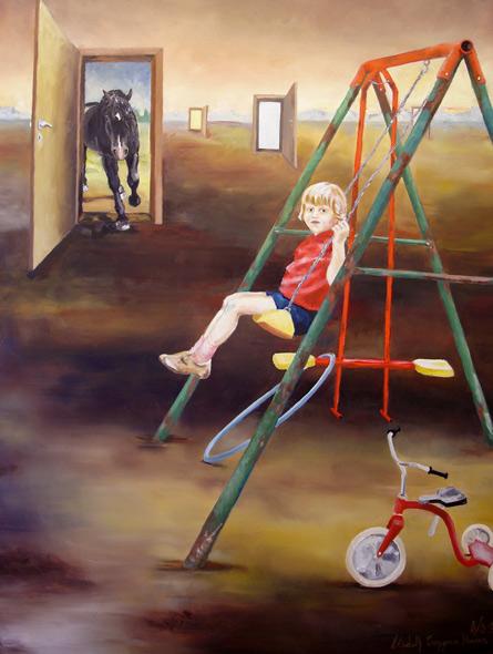 Tid - miniatyrbilde. Maleri av Elisabeth Berggren Hansen