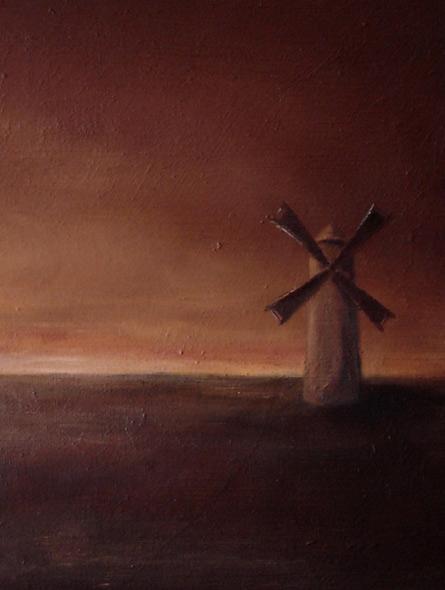 Vindmøllen - miniatyrbilde. Maleri av Elisabeth Berggren Hansen