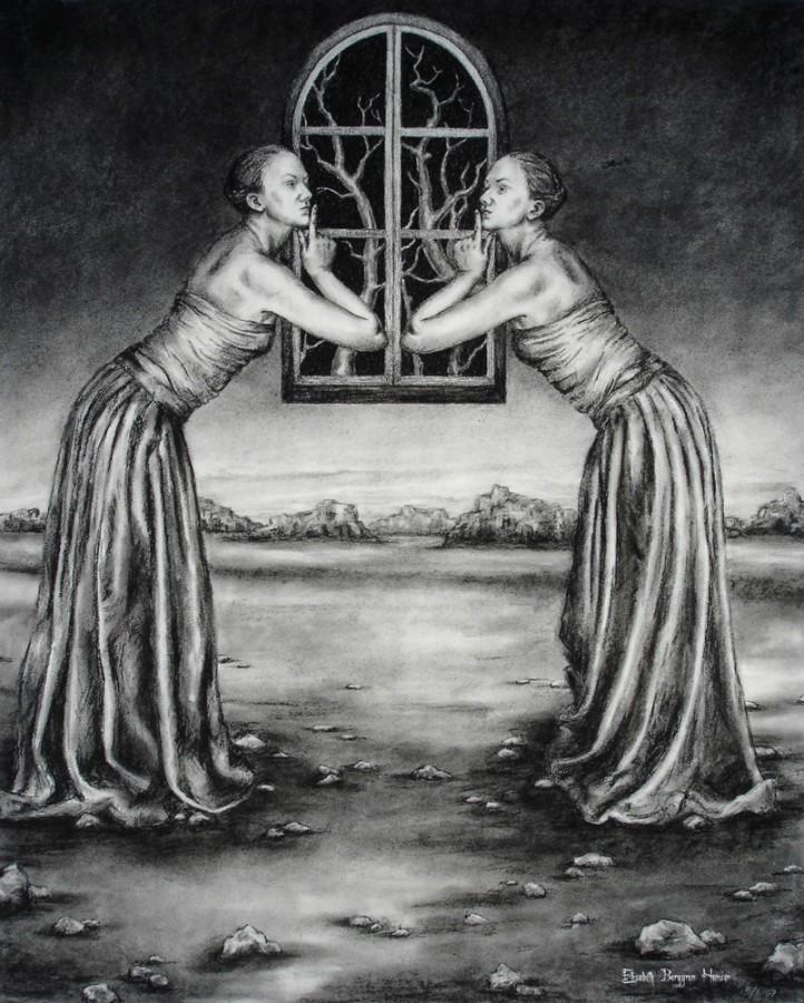 Speiling - Mirroring. Tegning av Elisabeth Berggren Hansen