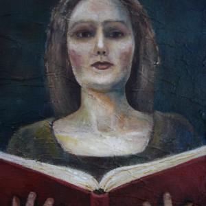 The Book of Secrets - detaljbilde 2. Maleri av Elisabeth Berggren Hansen