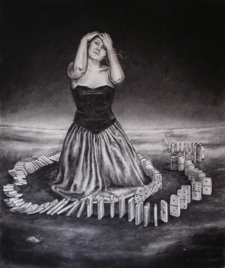 The domino girl. Tegning av Elisabeth Berggren Hansen