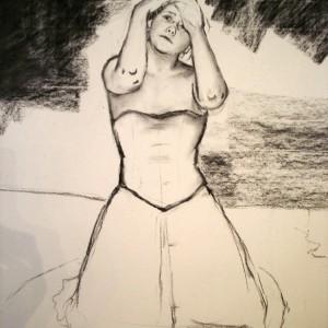 The domino girl - prosessbilde 1. Tegning av Elisabeth Berggren Hansen