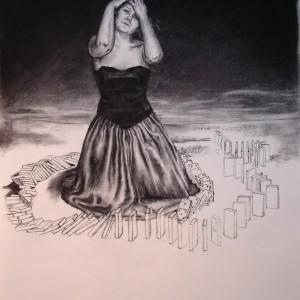 The domino girl - prosessbilde 2. Tegning av Elisabeth Berggren Hansen
