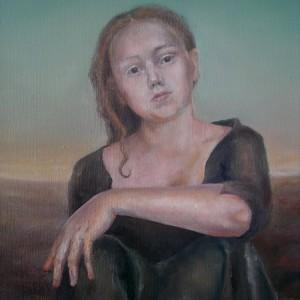 Ulvinnene - detaljbilde 2. Maleri av Elisabeth Berggren Hansen