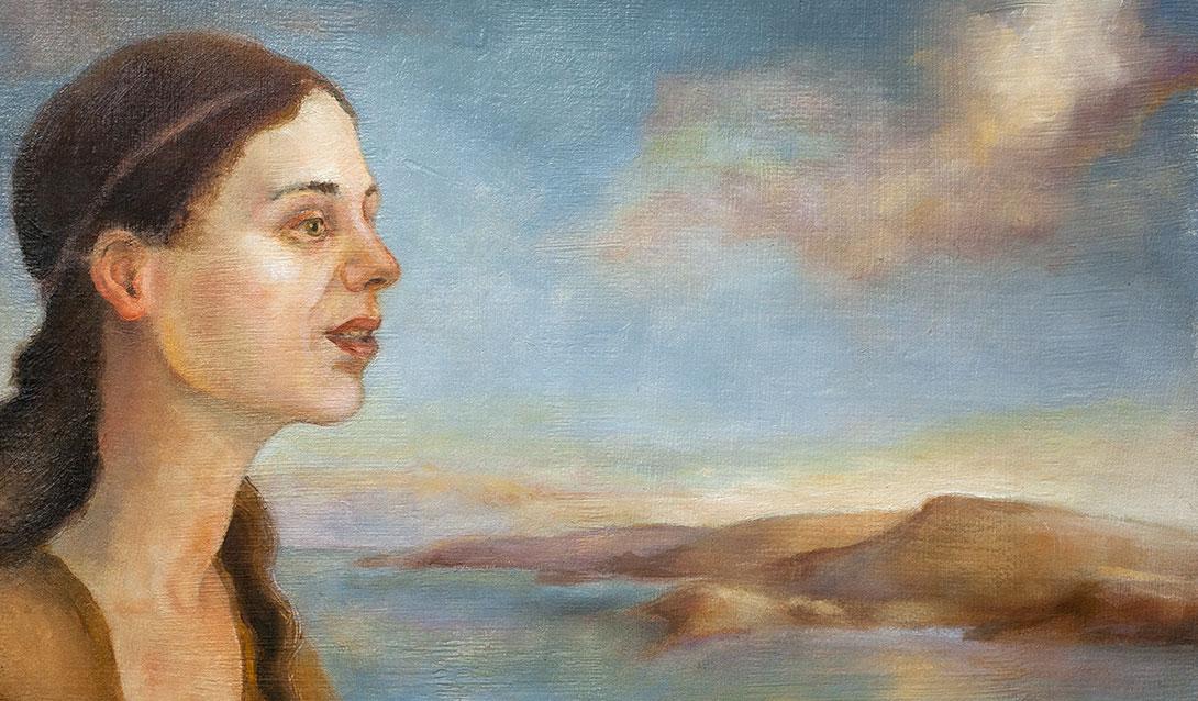 Skumring ved sjøen, oljemaleri av Elisabeth Berggren Hansen