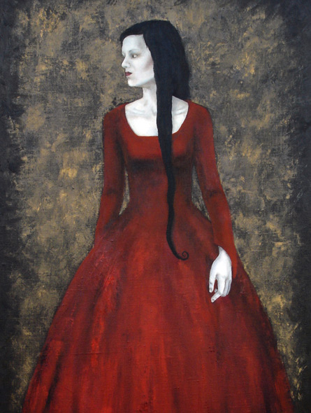 The red dress, painting by Elisabeth Berggren Hansen