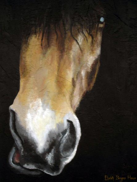100% Horse: Balder - miniatyrbilde. Maleri av Elisabeth Berggren Hansen