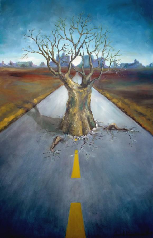 Veien. Maleri av Elisabeth Berggren Hansen