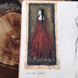 The red dress - skisse av Elisabeth Berggren Hansen