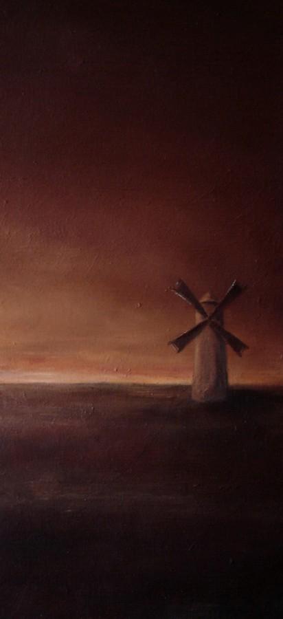 Vindmøllen. Maleri av Elisabeth Berggren Hansen