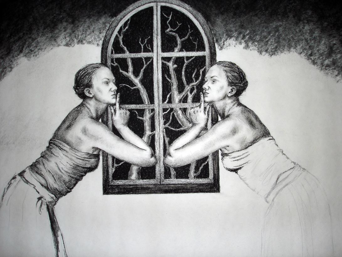 Speiling - Mirroring - prosessbilde. Tegning av Elisabeth Berggren Hansen