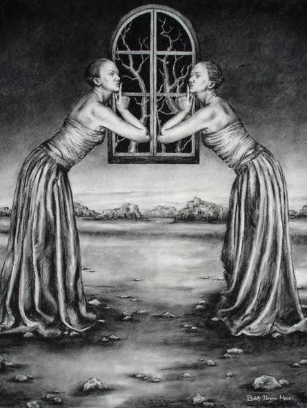 Speiling - Mirroring - miniatyrbilde. Tegning av Elisabeth Berggren Hansen
