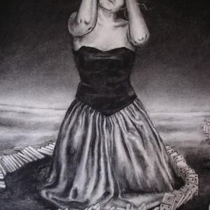The domino girl - detaljbilde 1. Tegning av Elisabeth Berggren Hansen