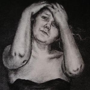 The domino girl - detaljbilde 2. Tegning av Elisabeth Berggren Hansen