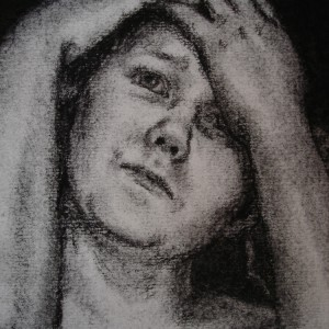 The domino girl - detaljbilde 3. Tegning av Elisabeth Berggren Hansen