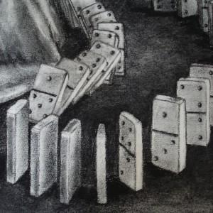 The domino girl - detaljbilde 4. Tegning av Elisabeth Berggren Hansen