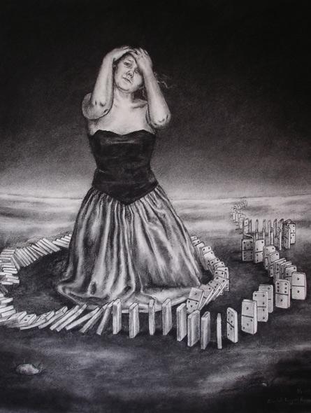 The domino girl - miniatyrbilde. Tegning av Elisabeth Berggren Hansen