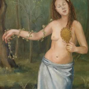 The Wood Nymph - detaljbilde 1. Maleri av Elisabeth Berggren Hansen