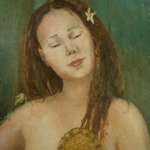The Wood Nymph - detaljbilde 2. Maleri av Elisabeth Berggren Hansen