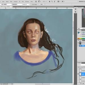 In a dream - prosessbilde 1. Digital tegning av Elisabeth Berggren Hansen