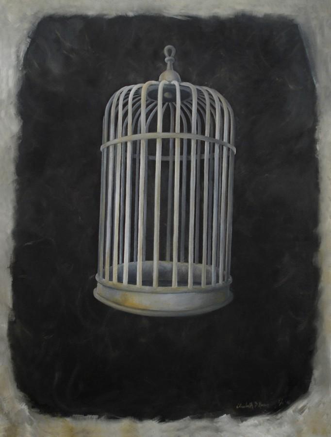 Caged In. Maleri av Elisabeth Berggren Hansen