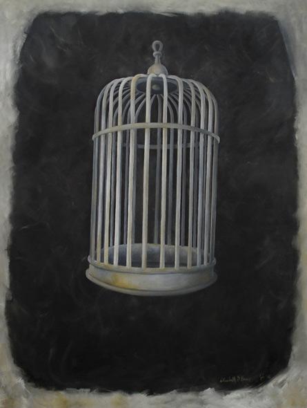 Caged In - miniatyrbilde. Maleri av Elisabeth Berggren Hansen
