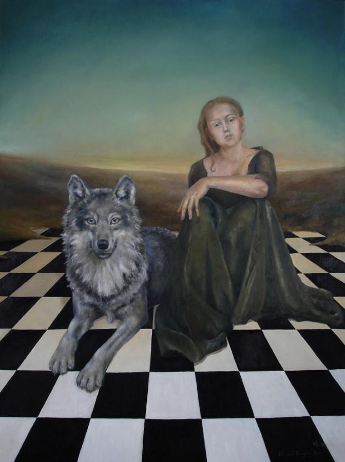 Ulvinnene. Maleri av Elisabeth Berggren Hansen