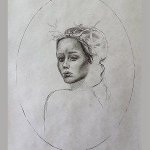 I am strong… but I am afraid… detaljbilde 02 - kulltegning av Elisabeth Berggren Hansen fra 2018