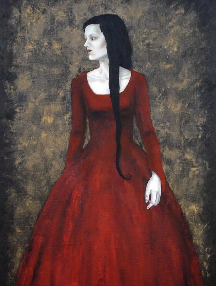 The red dress, painting by Elisabeth Berggren Hansen