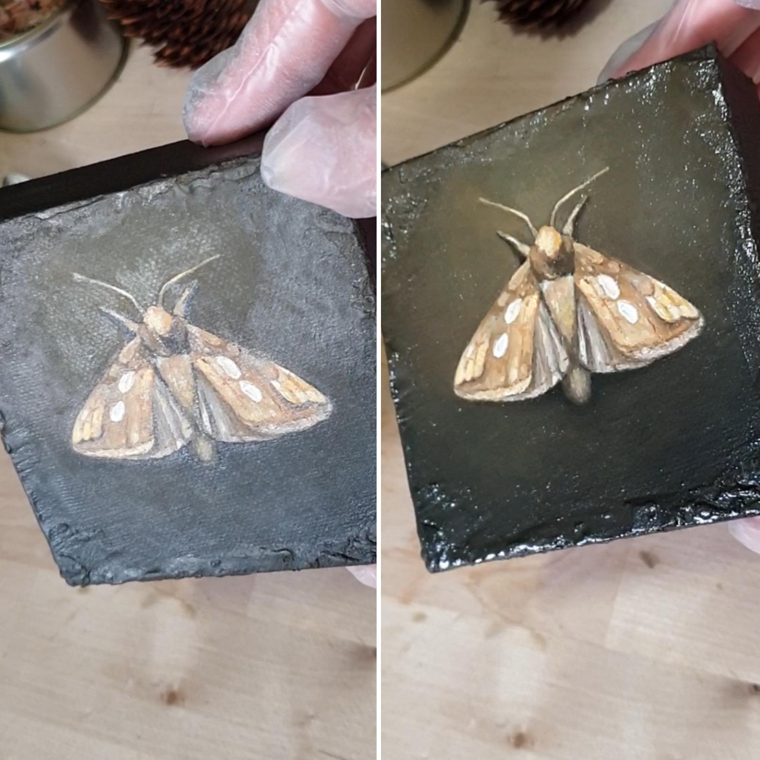 Før og etter fernissering av «The Golden Moth»